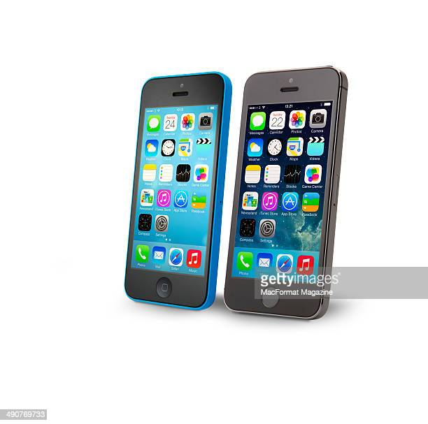 Portrait of an Apple iPhone 5C and iPhone 5S photographed on a white background taken on September 20 2013