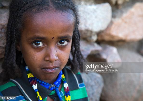 Portrait of an Argoba tribe girl on January 12 2017 in Koremi Ethiopia