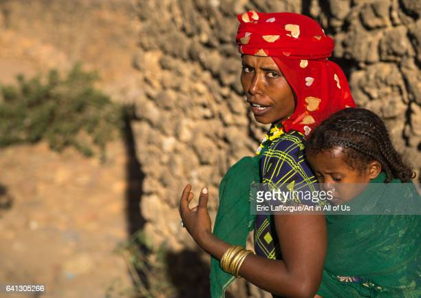 Portrait of an Argoba tribe mother with her child on January 12 2017 in Koremi Ethiopia