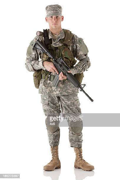Portrait of an army man with a rifle