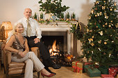 Portrait of an elderly couple at Christmas