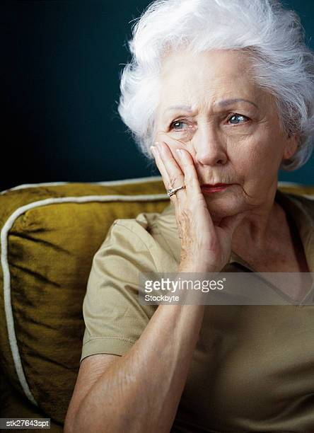 portrait of an elderly woman in a state of worry