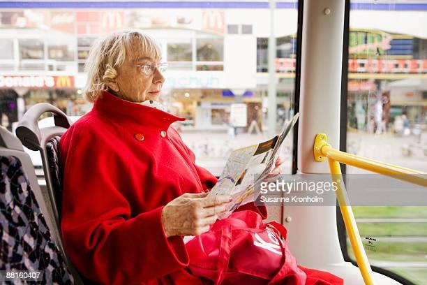 Portrait of an elderly woman on a bus Berlin Germany.