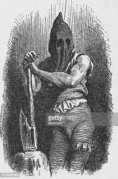 Portrait of an executioner from the 15th and 16th centuries wearing clothes that were typical for such a vocation during the time period