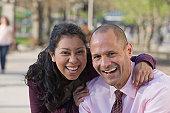 Portrait of an Hispanic couple smiling