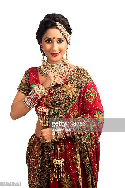 Portrait of an Indian bride in traditional wedding dress