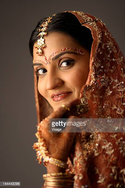 Portrait of an Indian bride smiling