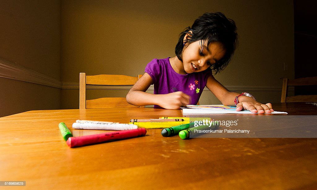 Portrait Of An Indian Girl Child Coloring Stock Photo