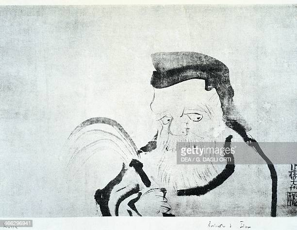 Portrait of an old man drawing by Ogata Korin ink on silk Japanese civilisation Edo period 17th19th century
