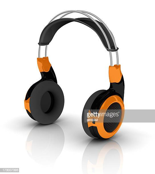 Portrait of an orange and black headset on white background