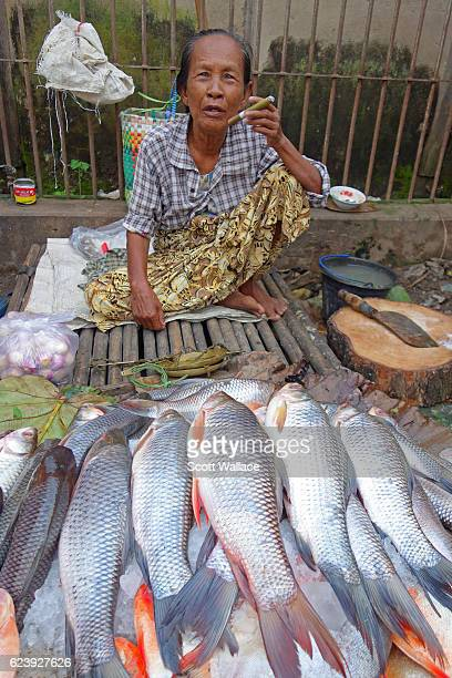 Portrait of an unidentified fishmonger crouched on the ground an outdoor market Pyay Myanmar 2013