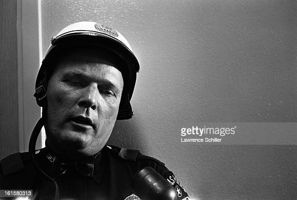 Portrait of an unidentified motorcycle police officer who had ridden in President John F Kennedy's motorcade at the time of his assassination Dallas...