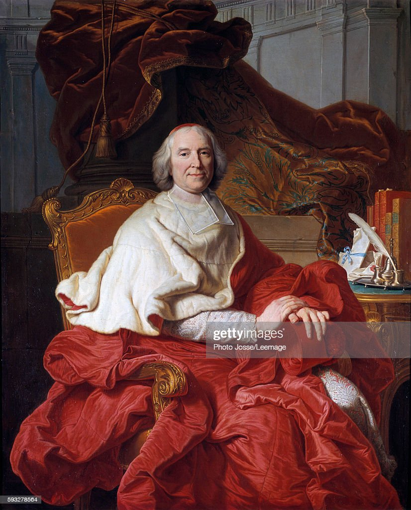 Portrait of Andre Hercule Cardinal Fleury prelate and politician Painting by Francois Stiemart after a painting by Hyacinthe Rigaud 18th century 16...