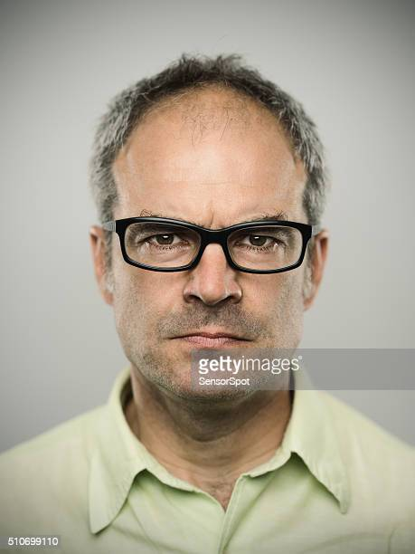 Portrait of angry caucasian real man