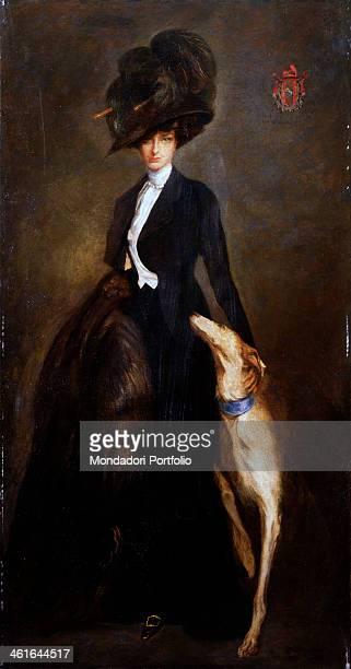 Portrait of Anna Morosini by Lino Selvatico 20th Century oil on canvas 228 x 119 cm Italy Veneto Venice Ca' Pesaro Galleria Internazionale d'Arte...
