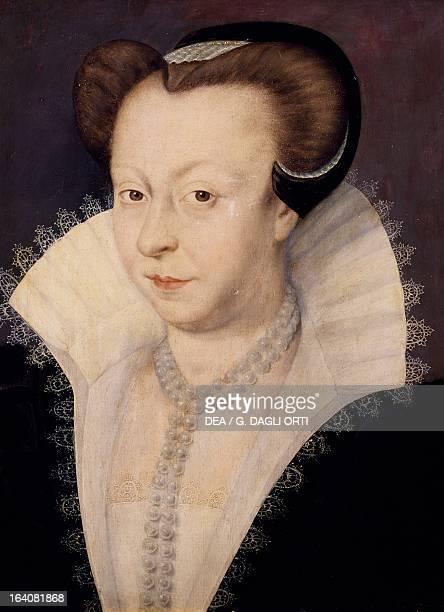 Portrait of Anne De Thou ca 1573 Countess of Cheverny Painting by Francois Quesnel oil on panel 34x27 cm Versailles Château De Versailles