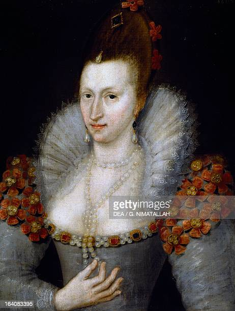 Portrait of Anne of Denmark Queen Consort of James I of England and James VI of Scotland Painting by anonymous Florence Palazzo Pitti Galleria...