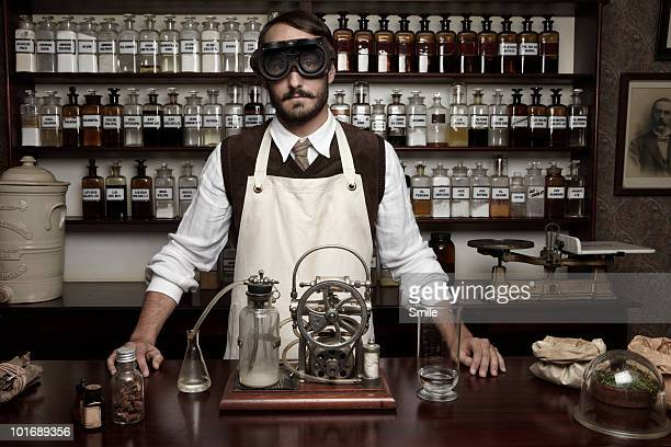 Portrait of antiquated chemist with goggles