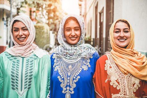 Portrait Of Arabian Girls Outdoor In City Street Young Islamic Women
