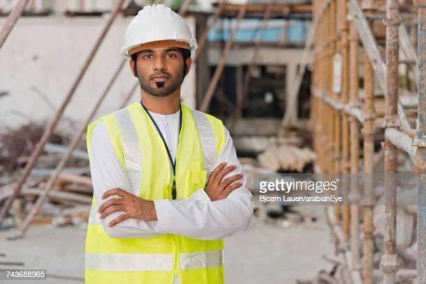 Portrait of architect at construction site.,Portrait of architect at construction site.
