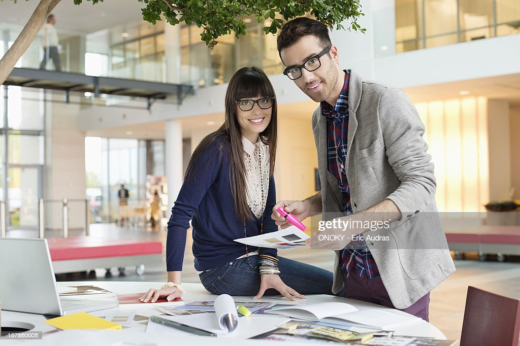 Portrait of architects working in an office : Stock Photo