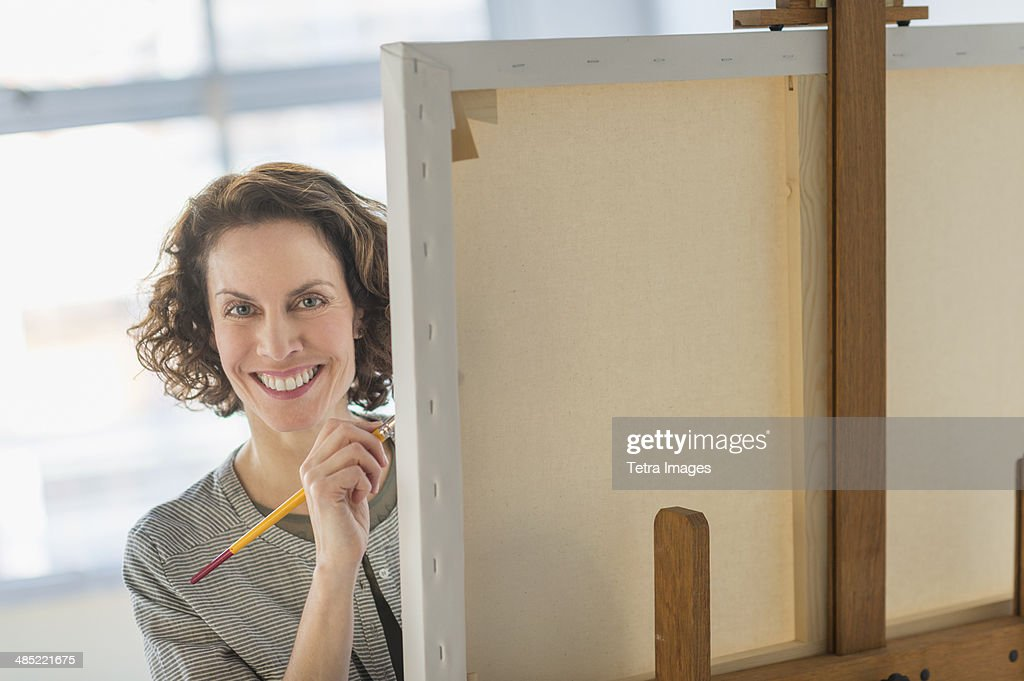 Portrait of artist in studio : Stock Photo