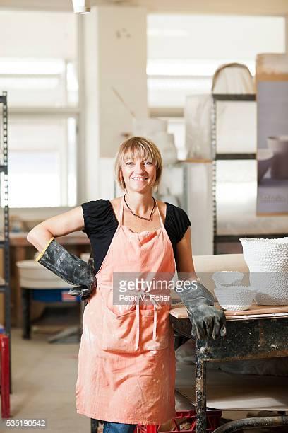 Portrait of artist in studio