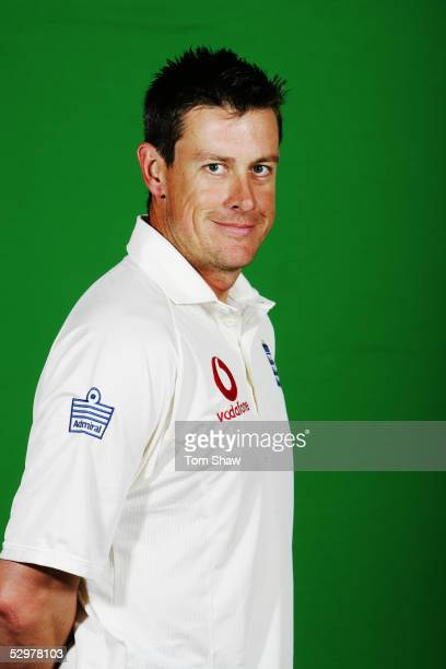 Portrait of Ashley Giles of England taken during a photocall at the Stapleford Park Hotel on May 20 2005 in Melton Mowbray Leicestershire England