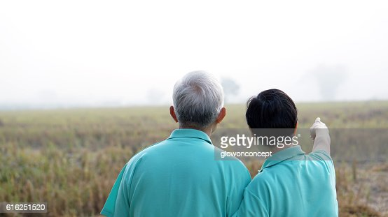 Portrait of Asian senior couple on bright green background : Stock Photo