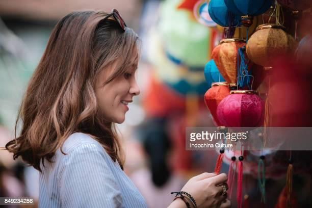 Portrait of Asian young woman at Lantern China town, Saigon, Vietnam