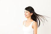 portrait of attractive asian woman beauty image on white background
