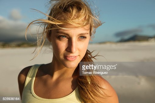 Portrait of attractive, young adult woman : Stock-Foto