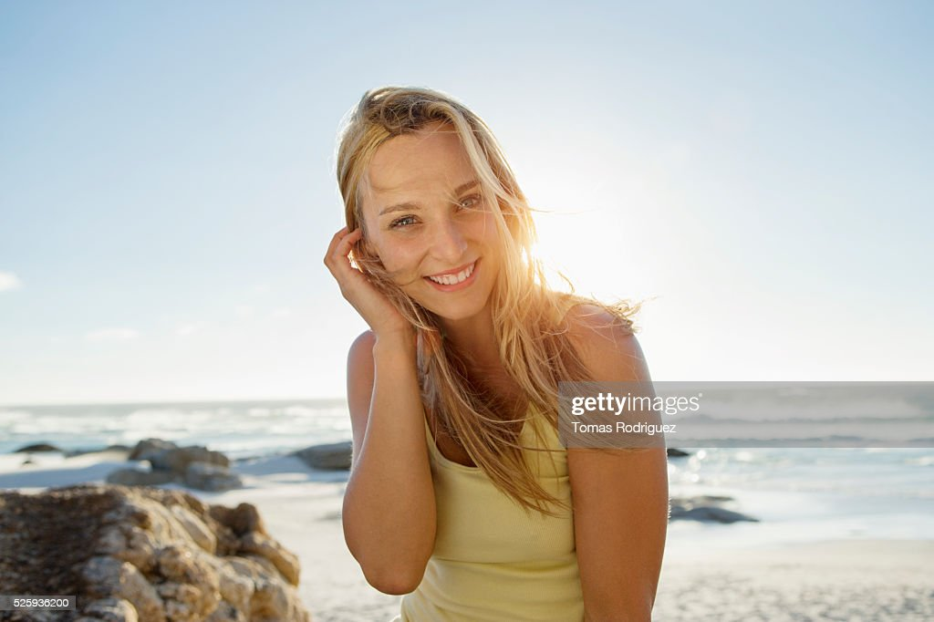 Portrait of attractive, young adult woman : Stock Photo