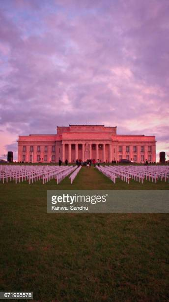 Portrait of Auckland War Memorial and Museum with crosses in front