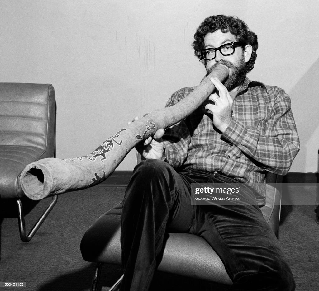 Portrait of Australianborn British entertainer Rolf Harris as he plays a didgeridoo London England July 1974
