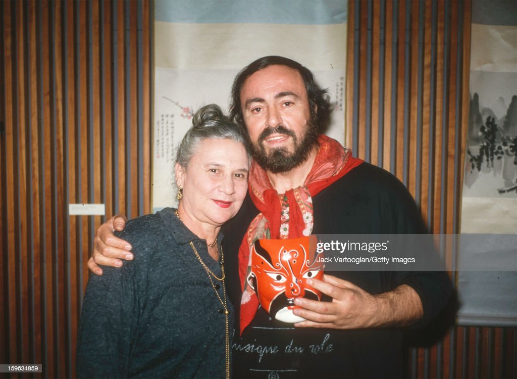 Portrait of Austrian-born American performing arts director Beate Sirota Gordon (1923 - 2012), of the Asia Society, and Italian tenor <a gi-track='captionPersonalityLinkClicked' href=/galleries/search?phrase=Luciano+Pavarotti&family=editorial&specificpeople=204196 ng-click='$event.stopPropagation()'>Luciano Pavarotti</a> (1935 - 2007) at a press reception to promote the film 'Pavarotti in China,' New York, New York, January 14, 1988.