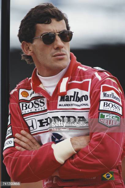A portrait of Ayrton Senna of Brazil driver of the Honda Marlboro McLaren McLaren MP4/7A Honda V12 during tyre testing for the British Grand Prix on...