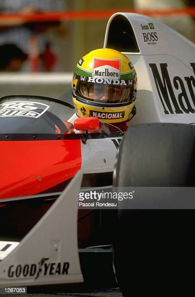Portrait of Ayrton Senna of Brazil in his McLaren Honda before the Monaco Grand Prix at the Monte Carlo circuit in Monaco Senna finished in first...