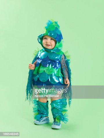 Portrait of baby girl in fish costume for halloween stock for Baby fish costume