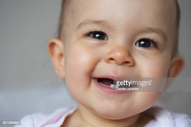 Portrait of baby smiling close-up