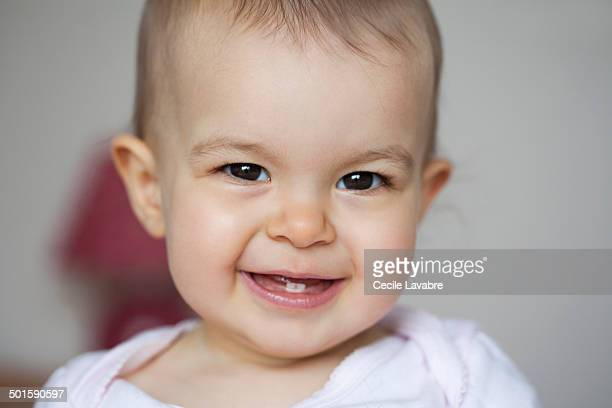 Portrait of baby smiling