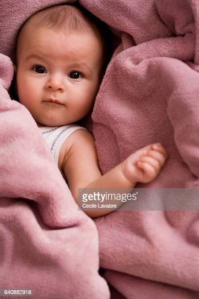 Portrait of baby wrapped in a soft blanket