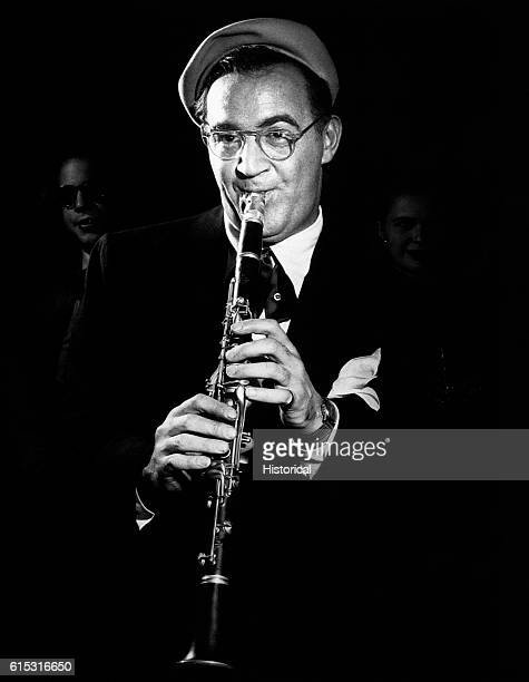A portrait of bandmaster Benny Goodman the 'king of swing' playing the clarinet Ca 1950