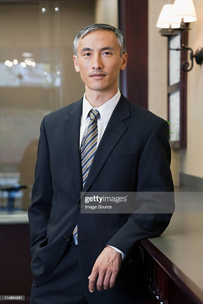Portrait of bank manager in bank