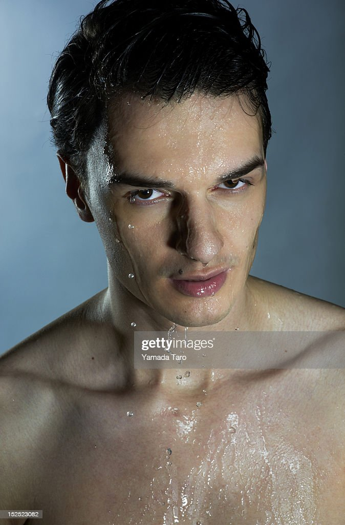 Portrait of bare chested young man : Stock Photo
