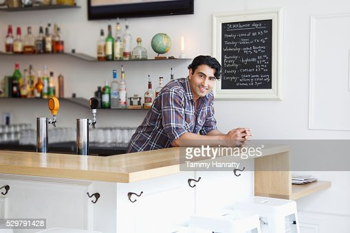Portrait of barman in cafe : Stockfoto