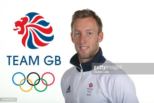 This image has been digitally altered logo added to background A portrait of Barry Middleton a member of the Great Britain Olympic team during the...