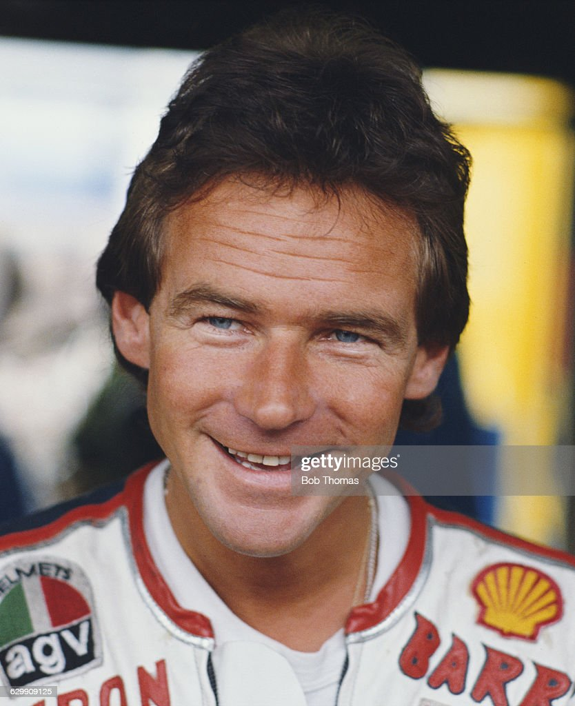Portrait of <a gi-track='captionPersonalityLinkClicked' href=/galleries/search?phrase=Barry+Sheene&family=editorial&specificpeople=600476 ng-click='$event.stopPropagation()'>Barry Sheene</a> of Great Britain, rider of the #7 Heron Suzuki 500cc during the British 500cc motorcycle Grand Prix on 5 August 1984 at the Silverstone Circuit, Towcester, Great Britain.