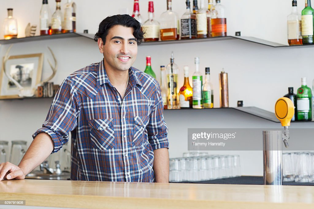Portrait of bartender : Stock Photo