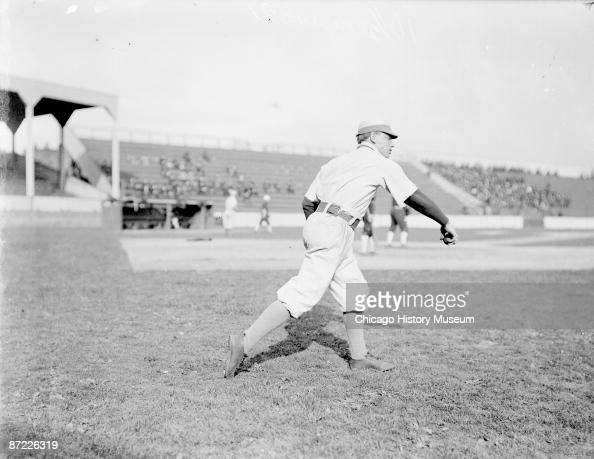 Portrait of baseball player Jack Taylor pitcher for the Chicago Cubs National League warming up in the foul area at West Side Grounds in the Near...